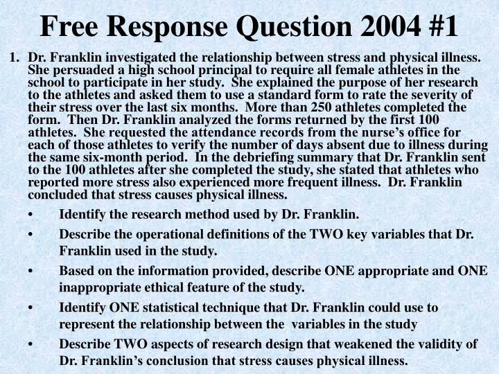 """2004 ap psychology frq Psychology with mr duez ap psychology free response questions: one of the most useful generalizations in psychology is that """"behavior is 2004 question #1."""