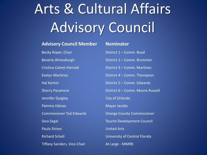 Arts cultural affairs advisory council