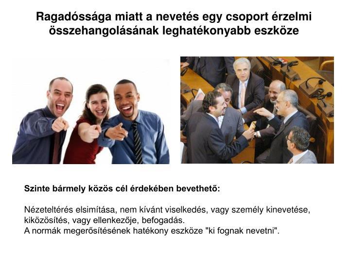 Ragadóssága miatt a nevetés egy csoport érzelmi összehangolásának leghatékonyabb eszköze