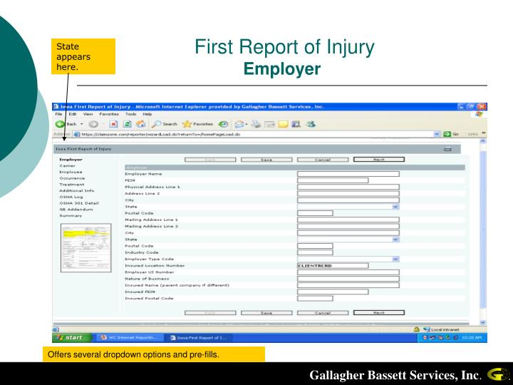 First Report of Injury