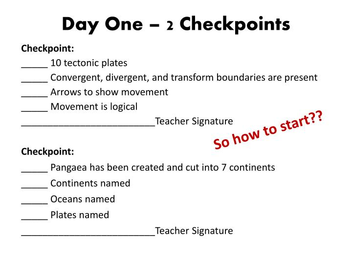 Day one 2 checkpoints