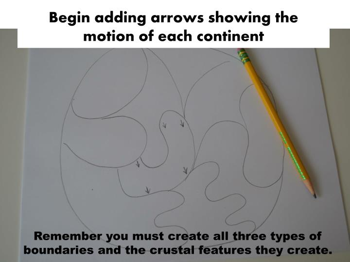Begin adding arrows showing the motion of each continent