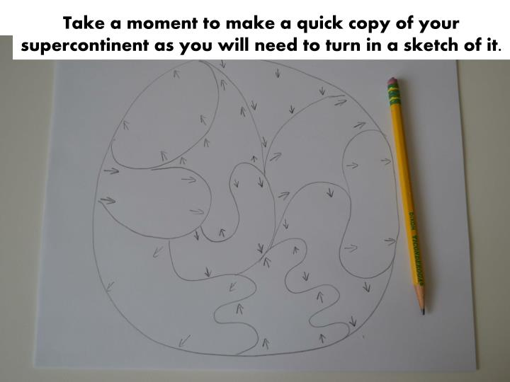 Take a moment to make a quick copy of your supercontinent as you will need to turn in a sketch of it.
