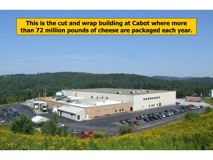 This is the cut and wrap building at Cabot where more than 72 million pounds of cheese are packaged each year.