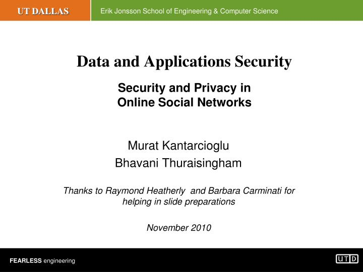 data and applications security security and privacy in online social networks n.