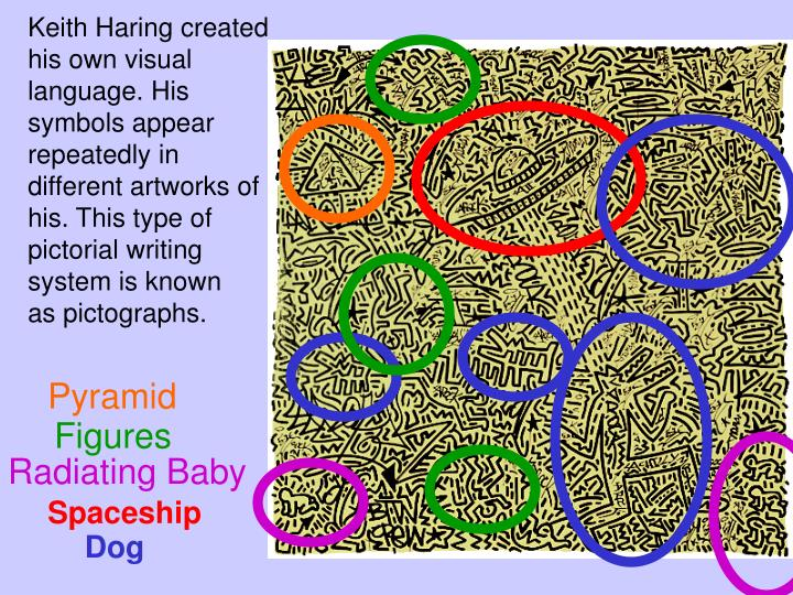 Keith Haring created his own visual language. His symbols appear repeatedly in different artworks of his. This type of pictorial writing system is known