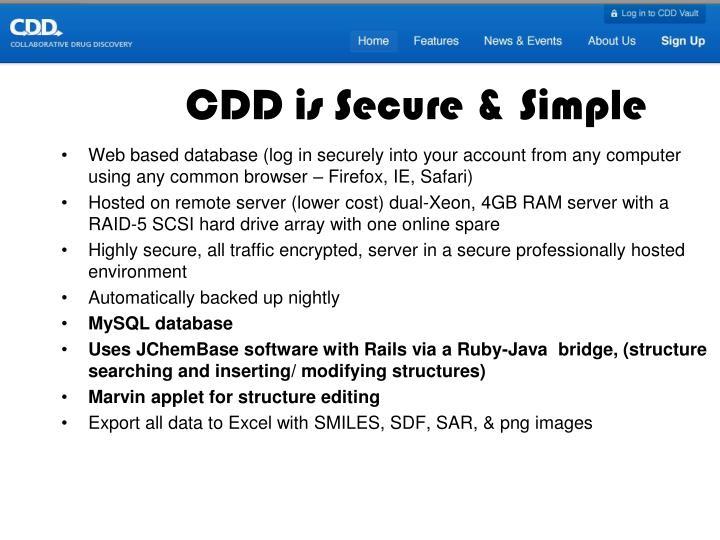 CDD is Secure & Simple