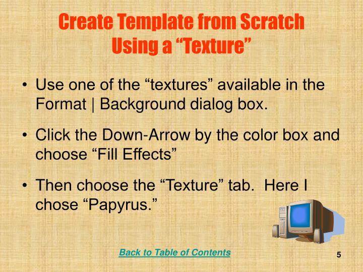 Create Template from Scratch