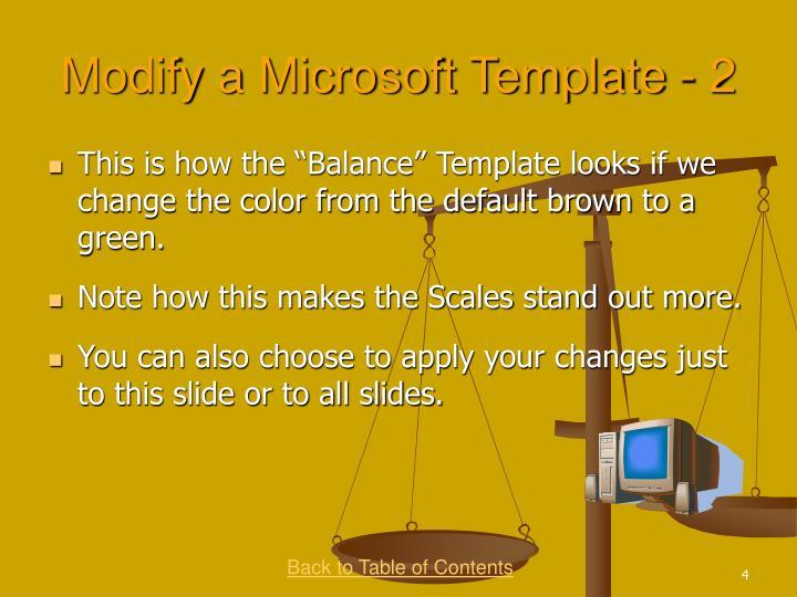 Modify a Microsoft Template - 2