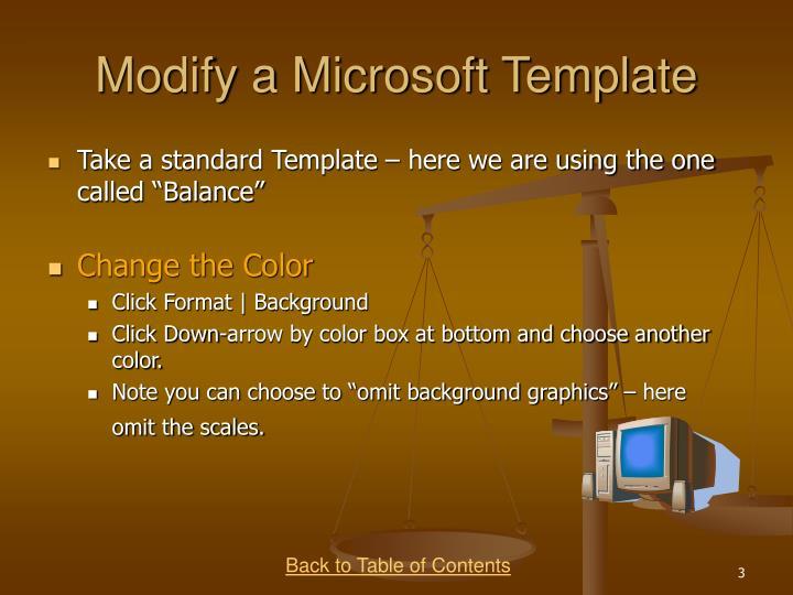 Modify a microsoft template