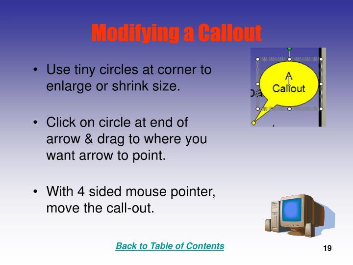 Modifying a Callout