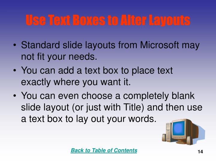 Use Text Boxes to Alter Layouts