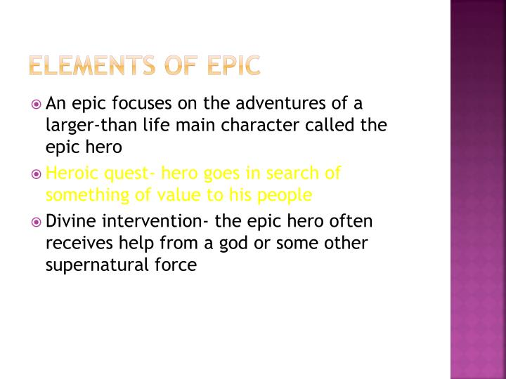 Elements of epic