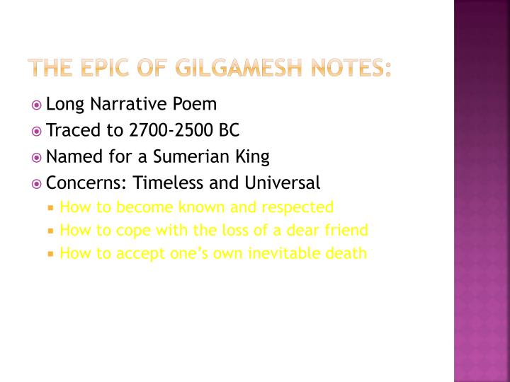 The Epic of Gilgamesh notes: