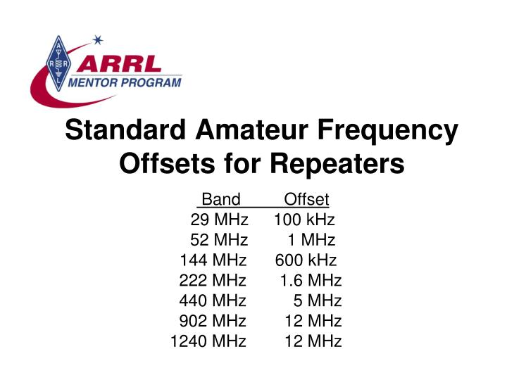 All amateur repeater frequency offset found site