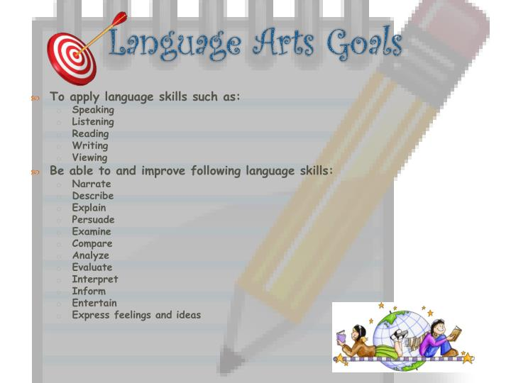 Language arts goals