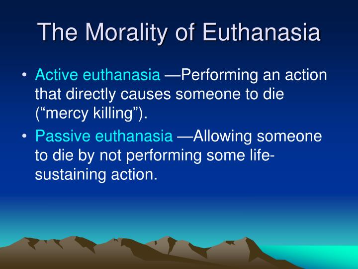 the various types of euthanasia and how they are performed First it is important to differentiate between the different types of euthanasia there are three types of euthanasia: passive euthanasia, active euthanasia, and physician assisted suicide passive euthanasia is hastening the death of a person by altering some form of support and letting nature take its course.