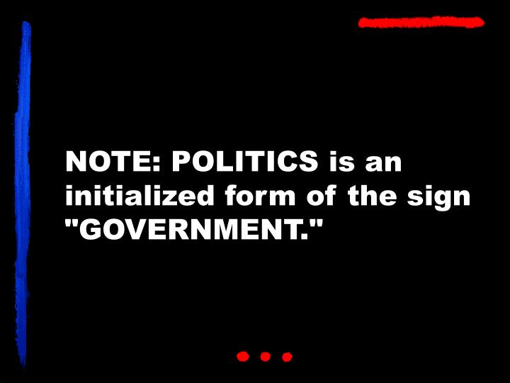 """NOTE: POLITICS is an initialized form of the sign """"GOVERNMENT."""""""