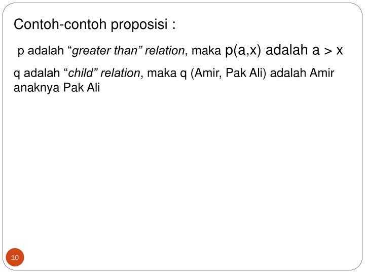 Contoh-contoh proposisi :