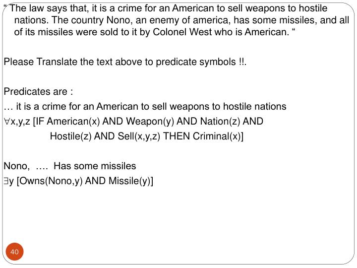 """"""" The law says that, it is a crime for an American to sell weapons to hostile nations. The country Nono, an enemy of america, has some missiles, and all of its missiles were sold to it by Colonel West who is American. """""""