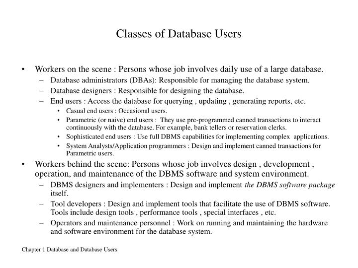 Classes of Database Users