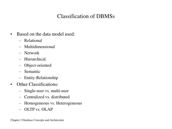 Classification of DBMSs