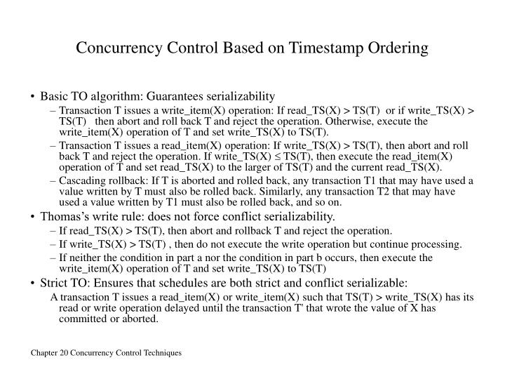 Concurrency Control Based on Timestamp Ordering