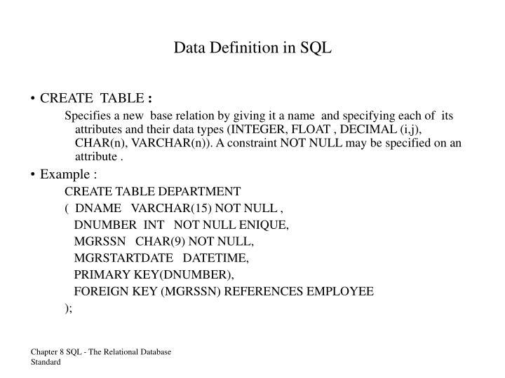 Data Definition in SQL