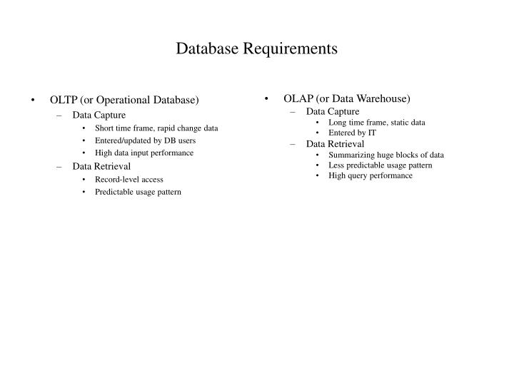 Database Requirements