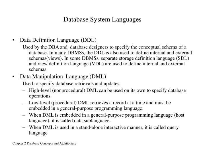 Database System Languages