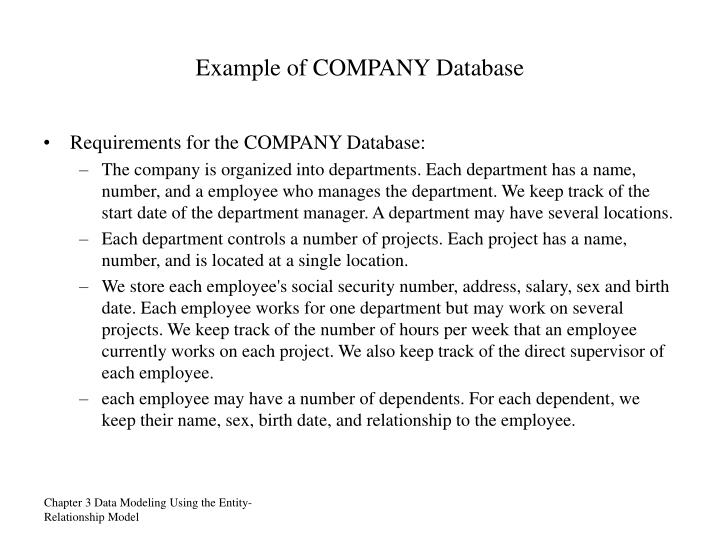 Example of COMPANY Database