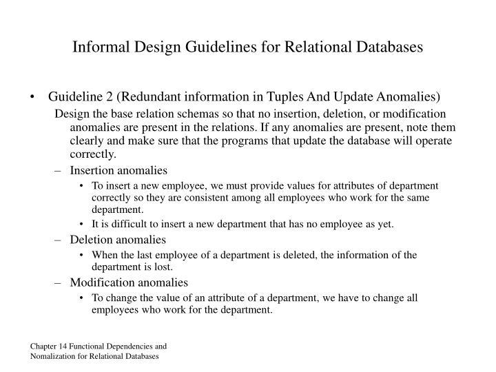 Informal Design Guidelines for Relational Databases