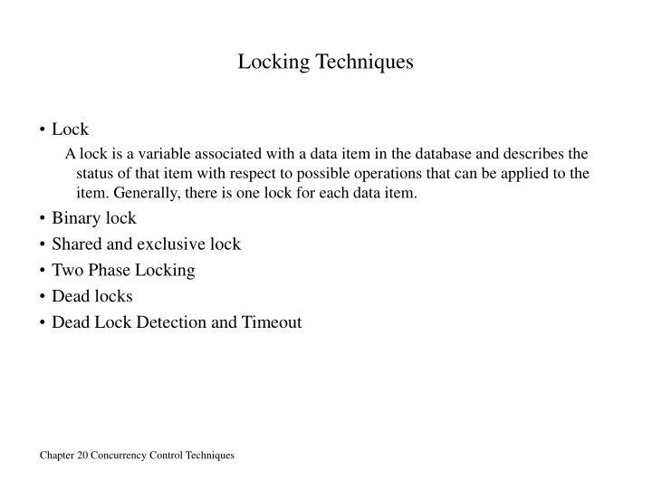 Locking Techniques
