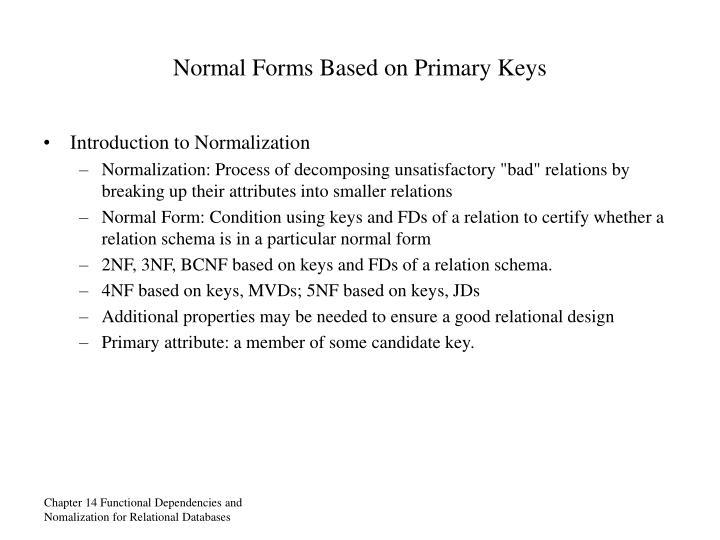 Normal Forms Based on Primary Keys