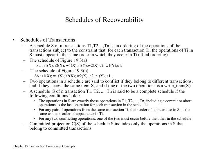 Schedules of Recoverability