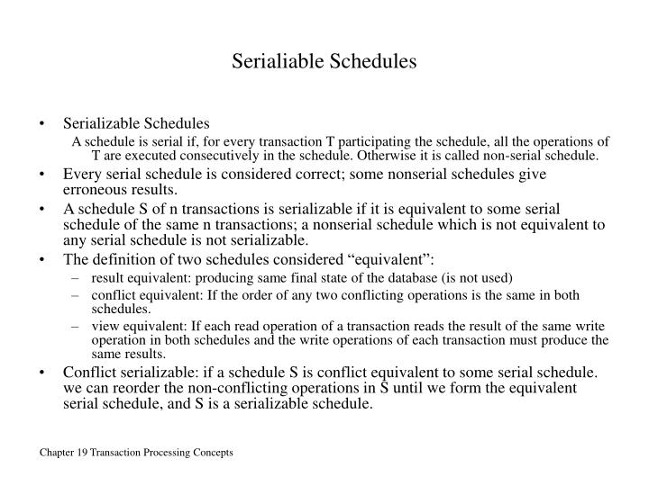 Serialiable Schedules