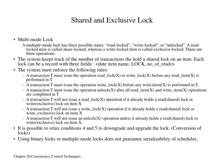Shared and Exclusive Lock