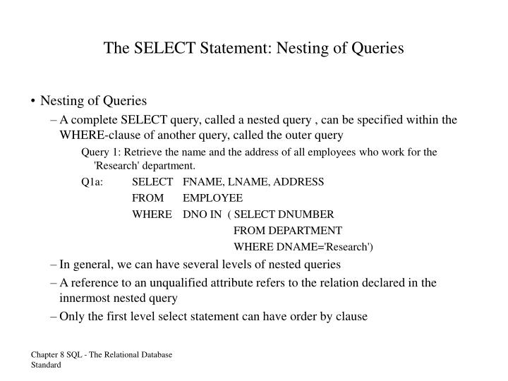 The SELECT Statement: Nesting of Queries