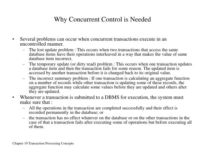 Why Concurrent Control is Needed