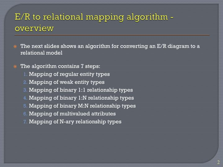 E r to relational mapping algorithm overview