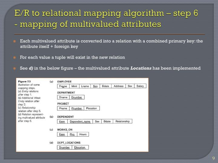 E/R to relational mapping algorithm – step 6