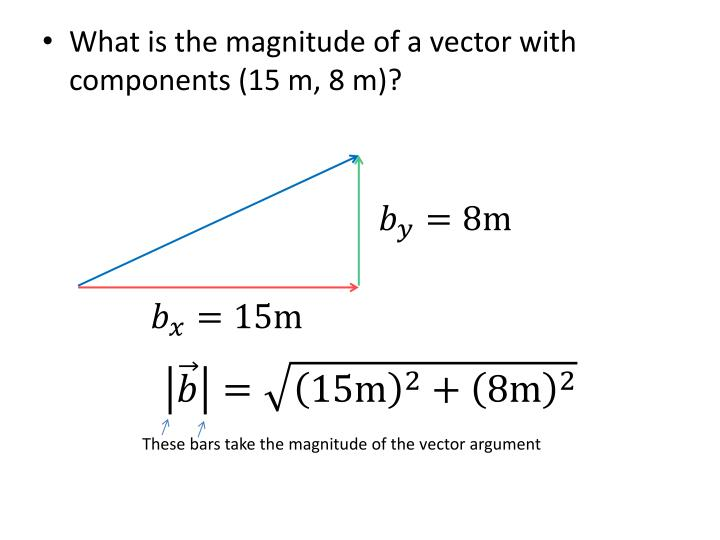 What is the magnitude of a vector with components (15 m, 8 m)?