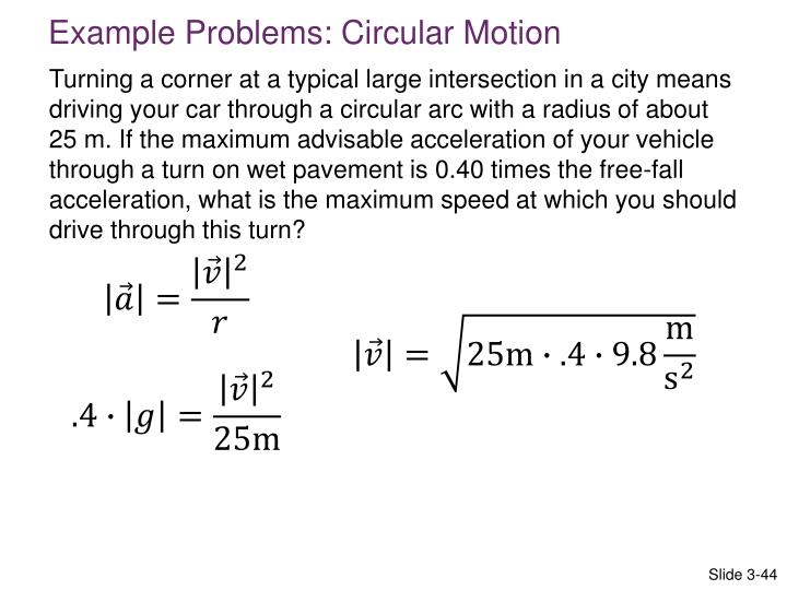 Example Problems: Circular Motion