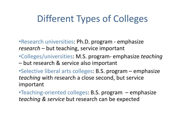 Different Types of Colleges