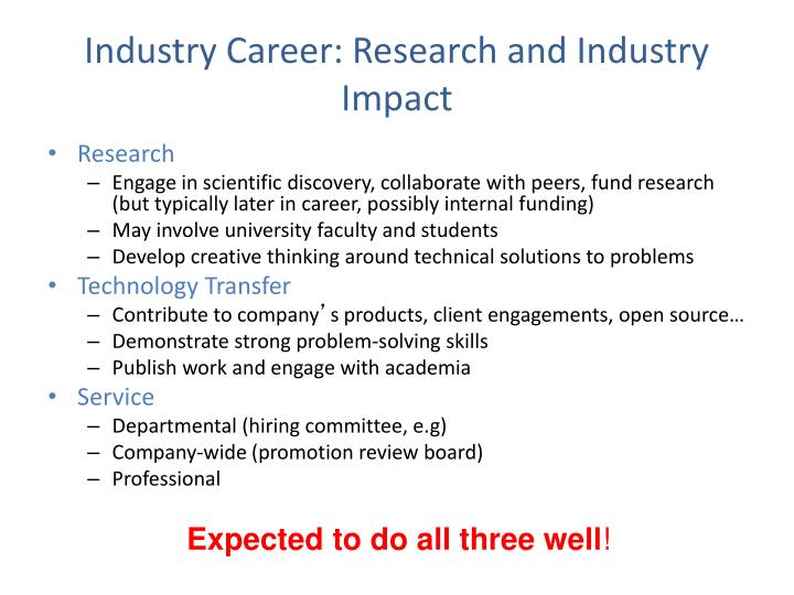 Industry Career: Research and Industry Impact