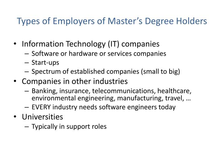 Types of Employers of Master