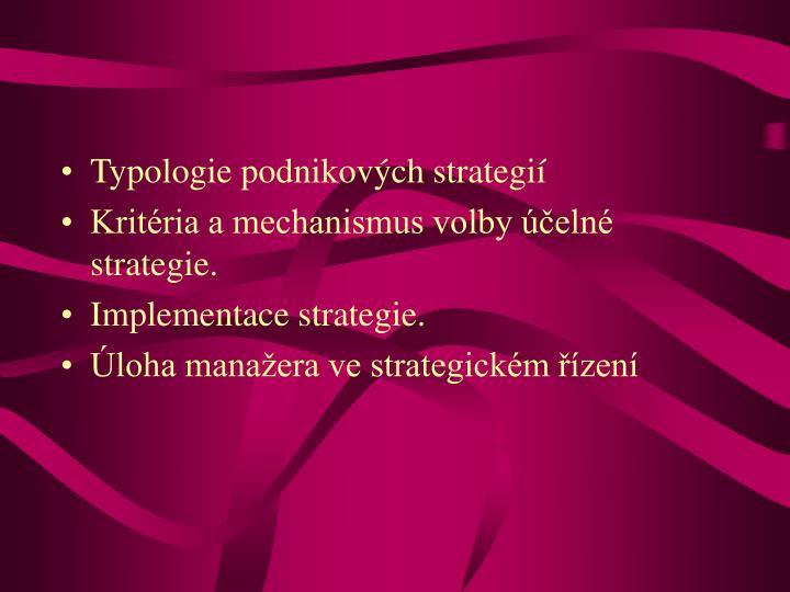 Typologie podnikových strategií