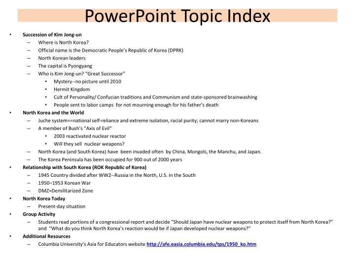 Powerpoint topic index