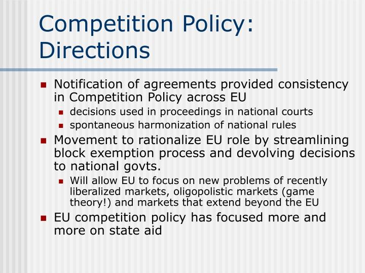eu competition policy essay European union the competition law remains in the ec us enforcement of competition policy is both complicated and us and eu competition law: a comparison 343.