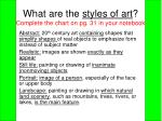 what are the styles of art complete the chart on pg 31 in your notebook